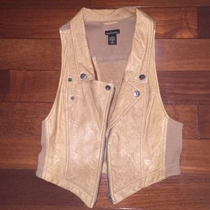 Brown/tan leather vest Sz M